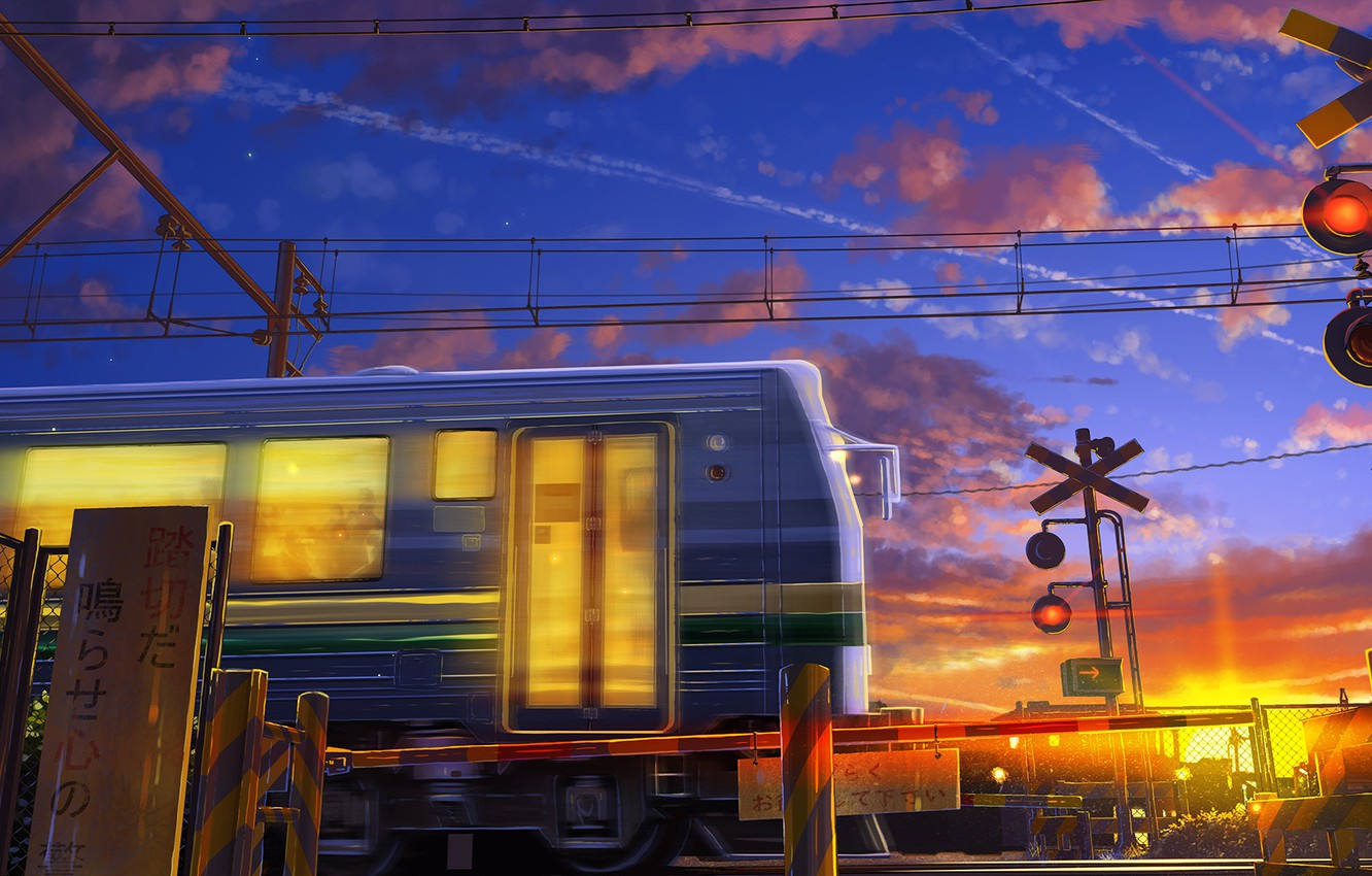 Photo wallpaper wire, train, train, characters, sunrise, the barrier, moving, the light in the Windows, blue sky, …