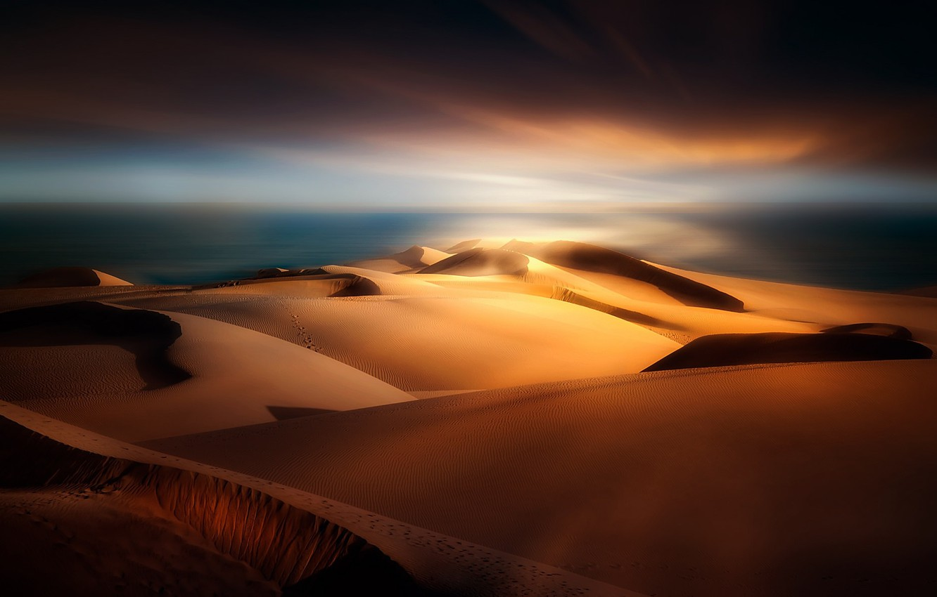 Photo wallpaper sand, dunes, Spain, The Canary Islands