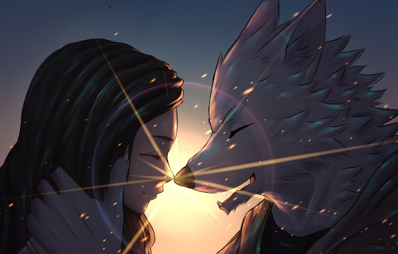 Photo wallpaper girl, the sun, love, wolf, fantasy