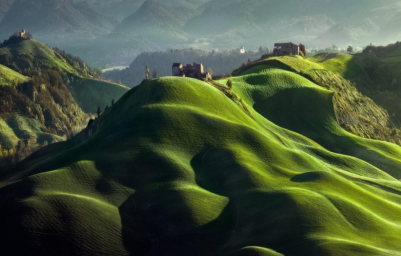 Photo wallpaper light, mountains, hills, Spring, shadows, ruins