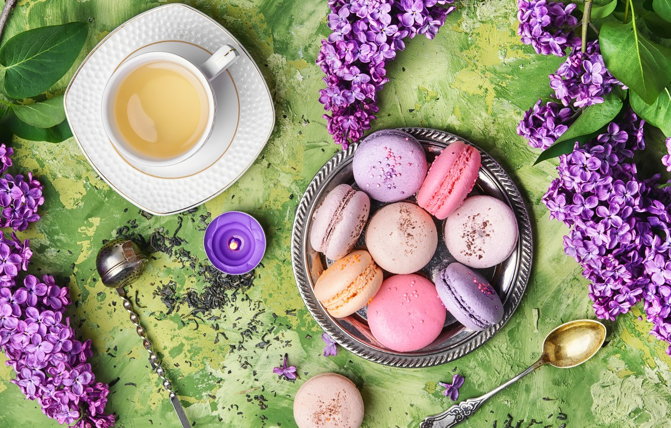Photo wallpaper flowers, flowers, lilac, cup, tea, macaroons, macaron, lilac, macaroon, Cup of tea
