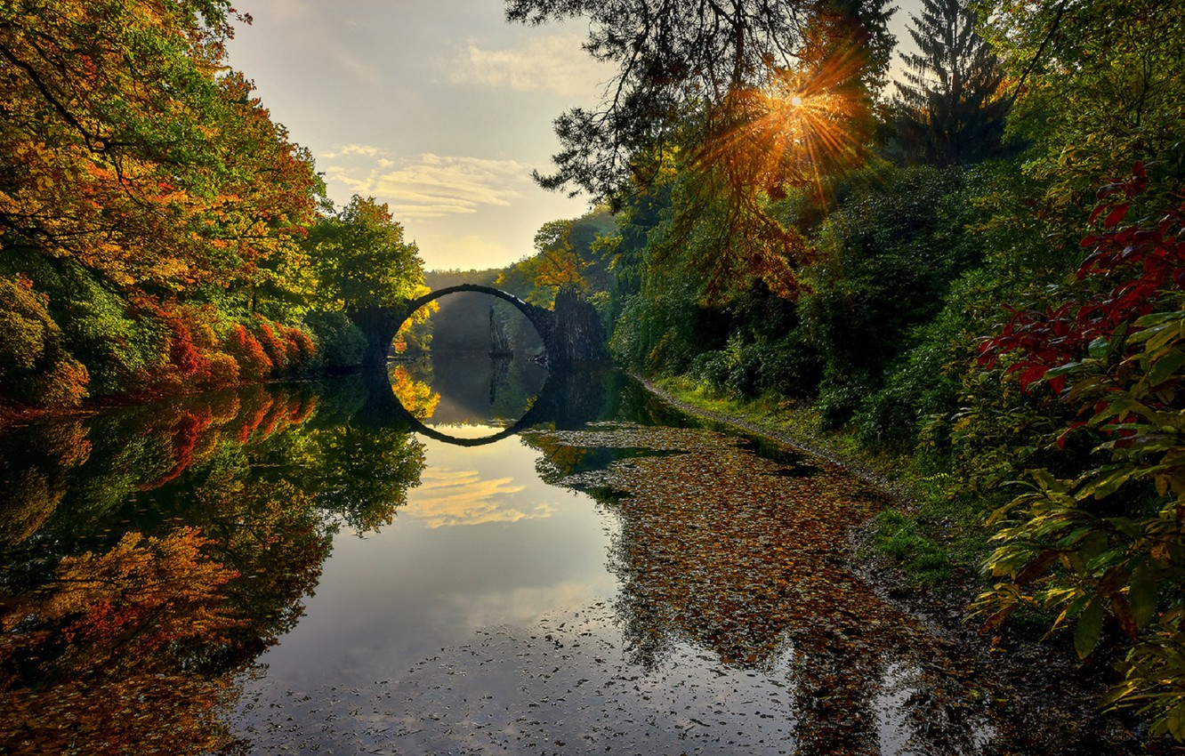 Photo wallpaper autumn, the sun, bridge, river, Germany, The Devils Bridge