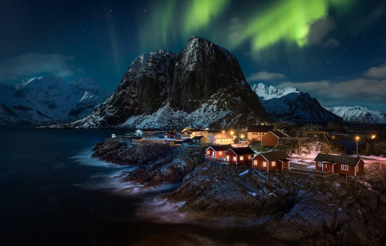Photo wallpaper mountains, night, home, Northern lights, village, Norway, Norway, the fjord, The Lofoten Islands, Lofoten, Hamnøy, …