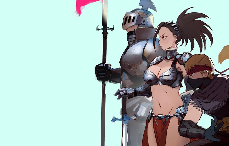 Photo wallpaper girl, sword, armor, anime, weapons, digital art, warrior, fantasy art, knight, pearls, spear, simple background, …