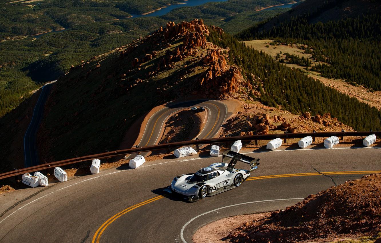Photo wallpaper mountains, track, Volkswagen, prototype, prototype, 2019, I.D. R