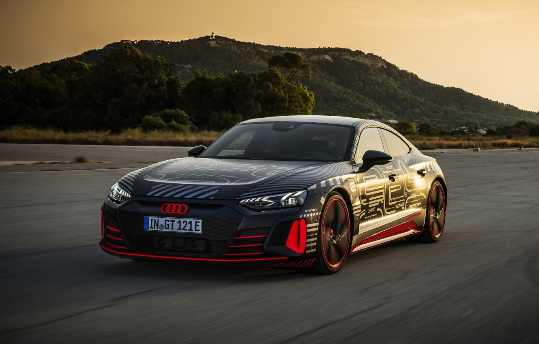 Photo wallpaper Audi, coupe, hill, 2020, RS e-Tron GT Prototype