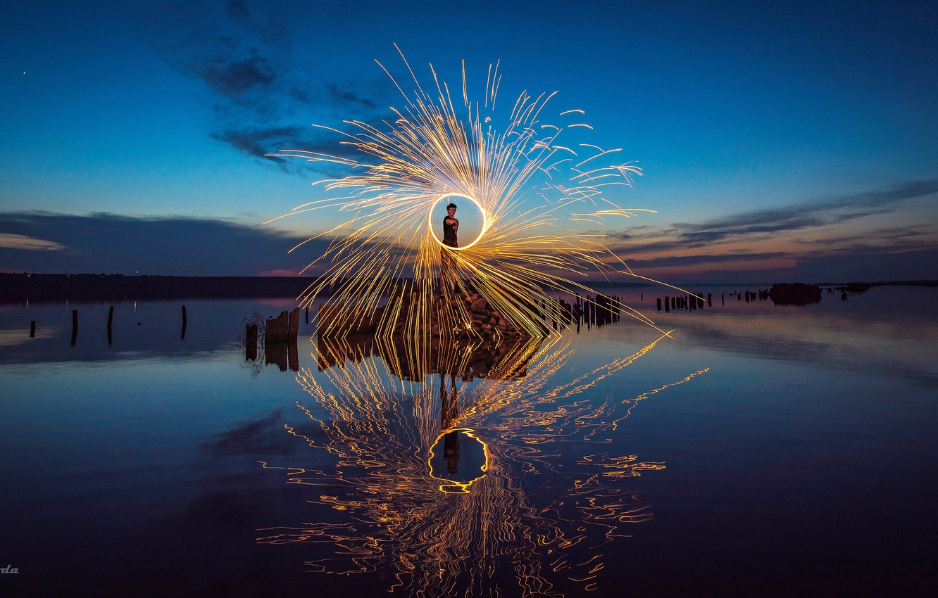 Photo wallpaper water, reflection, night, mood, fire, the atmosphere, People, fireshow, Virchow