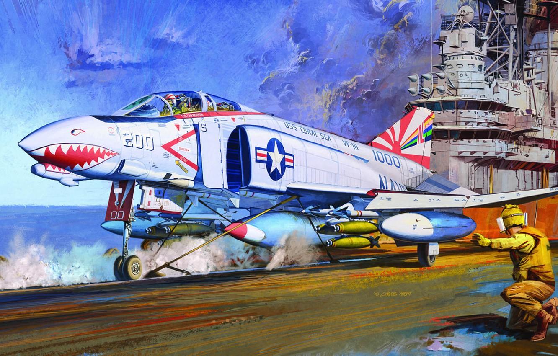 Photo wallpaper Phantom II, fighter-interceptor, double, McDonnell Douglas, US NAVY, Chang Heum, F-4B, fighter-bomber for the US …