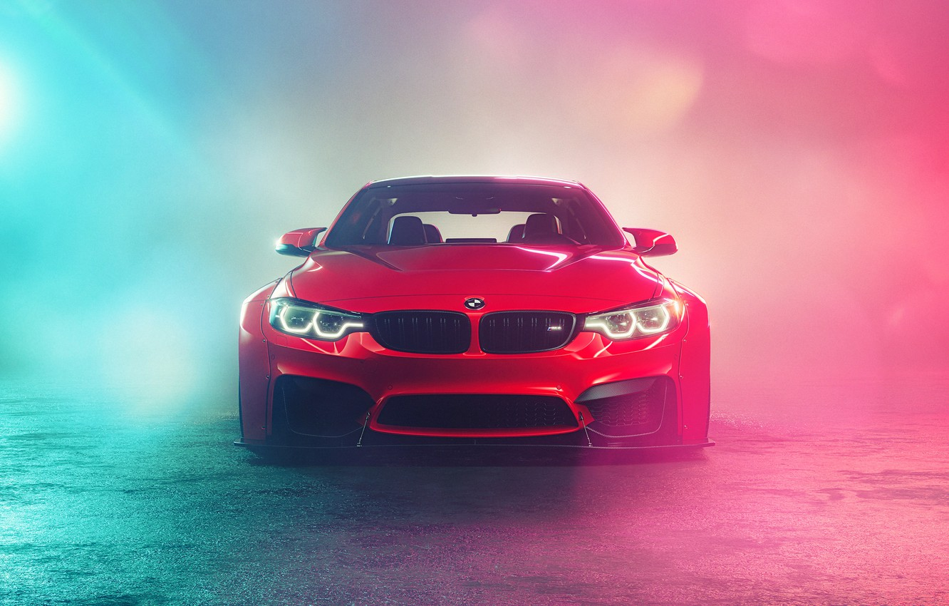 Photo wallpaper Red, Auto, Smoke, BMW, Machine, Car, Car, Render, BMW M3, Rendering, The front, Red, Transport …