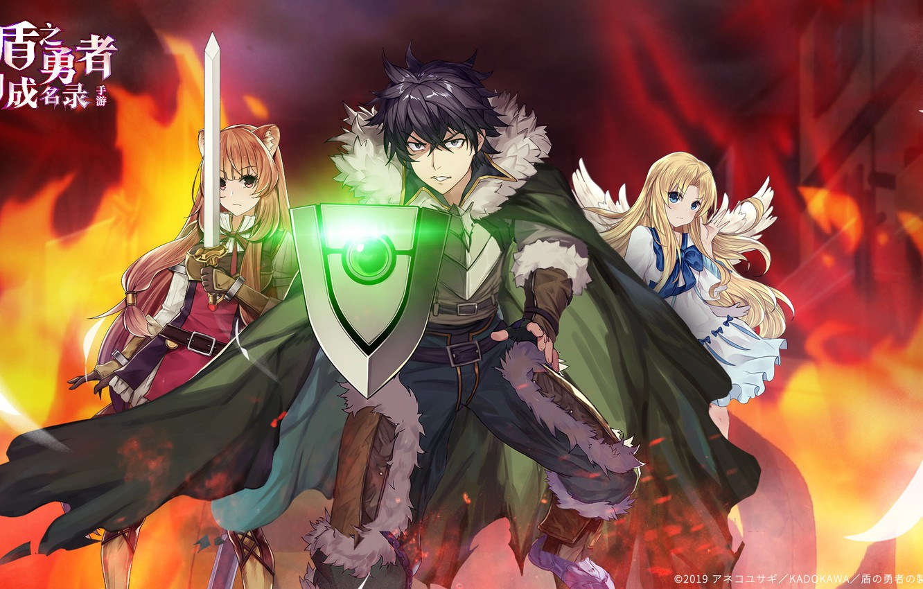 Wallpaper Angel Sword Shield Trio The Rise Of Shield Hero The