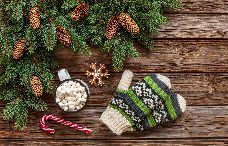 Photo wallpaper decoration, New Year, Christmas, mug, Christmas, wood, mittens, cup, New Year, decoration, xmas, Merry, fir …
