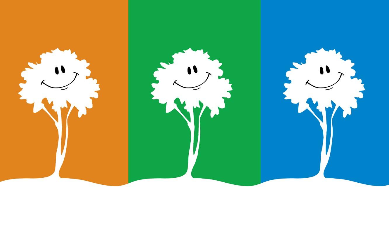 Photo wallpaper trees, nature, smile, tree, figure, graphics, three, bright colors, three, smile, bright colors, Trinity, multicolored