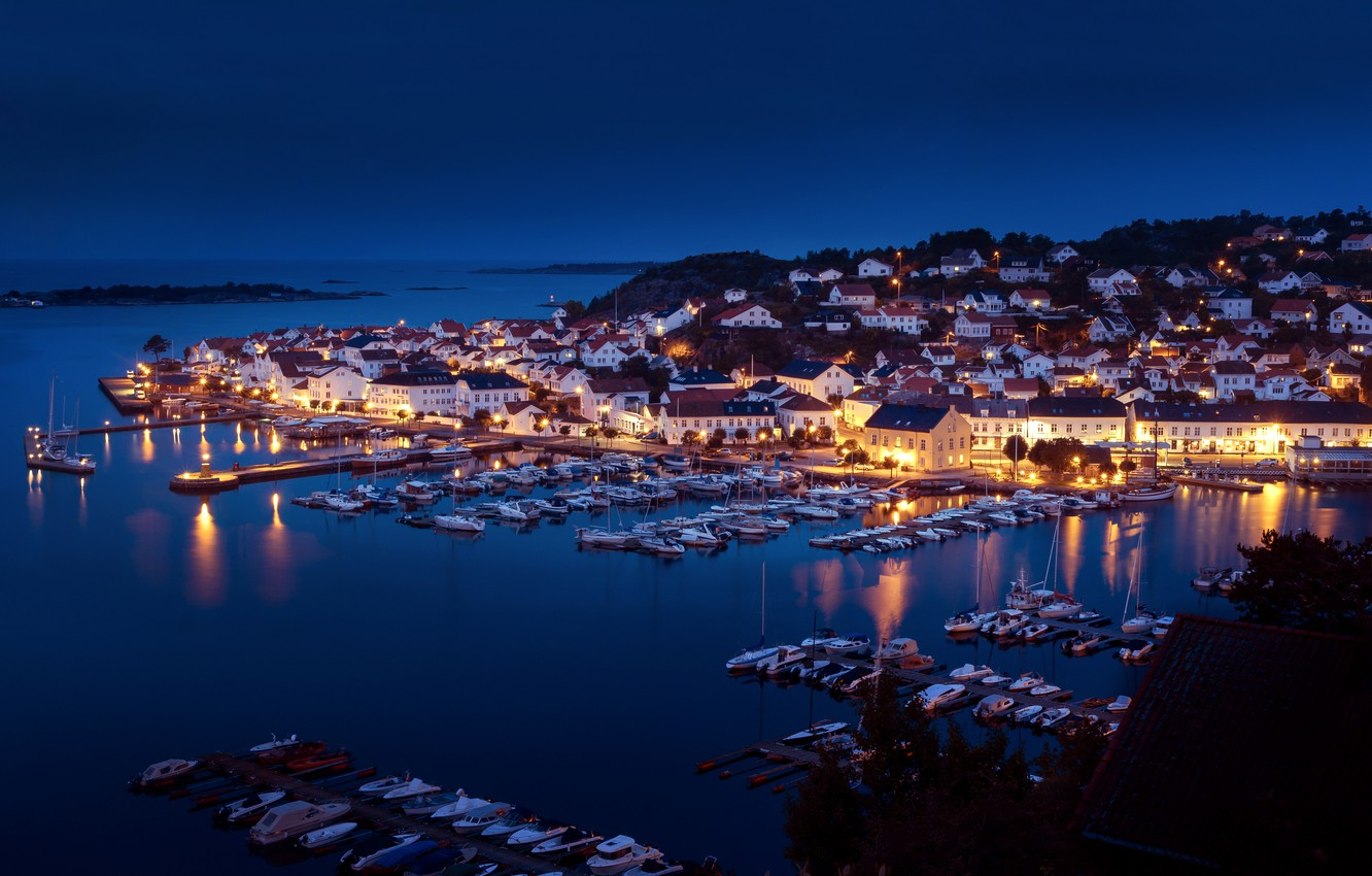 Photo wallpaper sea, night, building, home, yachts, port, Norway, panorama, boats, harbour, Norway, Risør, The Skagerrak Strait, …