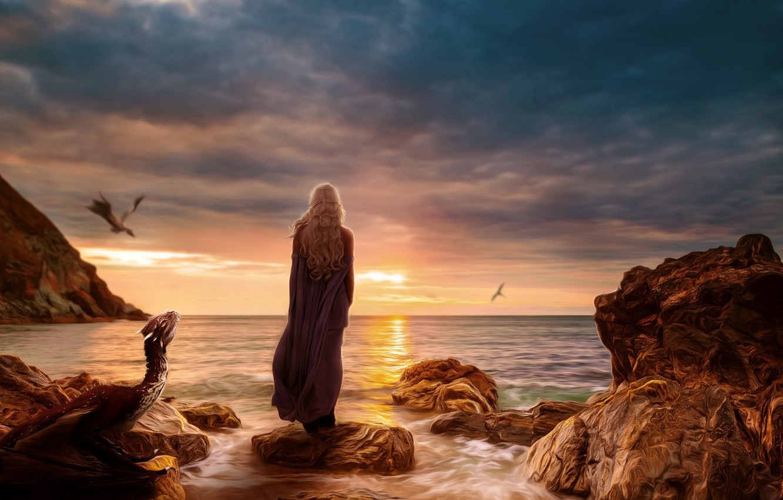 Photo wallpaper sea, fiction, dragons, art, fantasy, sea, art, Game of Thrones, Game of thrones, Daenerys Targaryen, …