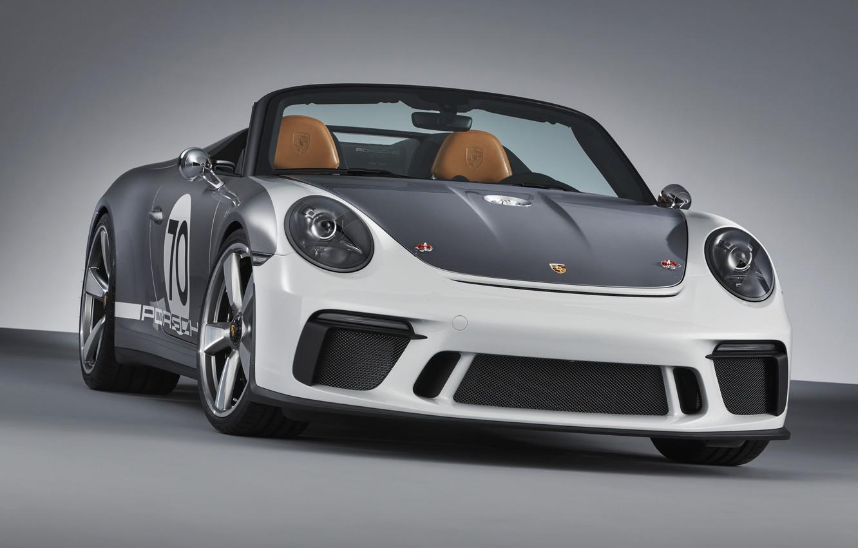 Photo wallpaper Porsche, front view, 2018, gray-silver, 911 Speedster Concept