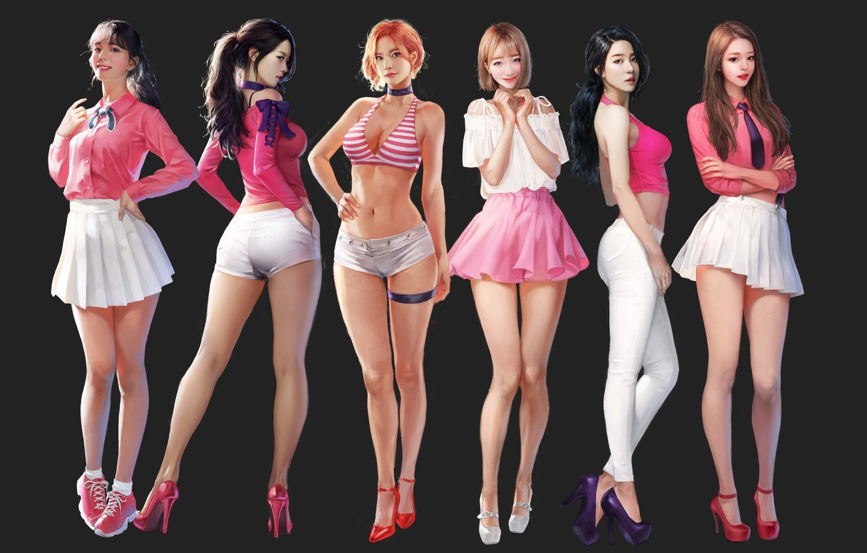 Photo wallpaper Girls, Figure, Art, Concept Art, Asian girls, J.Won Han, berry good, by J.Won Han