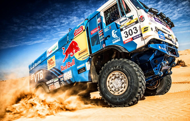 Photo wallpaper Sand, Sport, Machine, Truck, Race, Master, Russia, Kamaz, Rally, KAMAZ-master, Rally, KAMAZ, The roads, RedBull, …