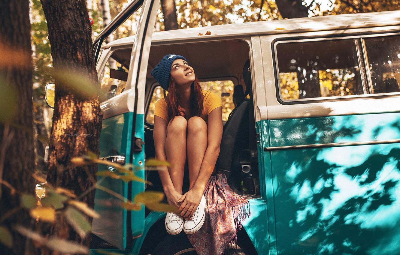 Photo wallpaper machine, forest, hat, Girl, Autumn, legs, sitting, Inga Lis, Rome Rome