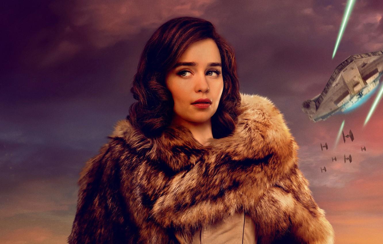 Photo wallpaper coat, Star wars, spaceship, Emilia Clarke, Emilia Clarke, Han Solo, Han Solo, Solo: A Star …