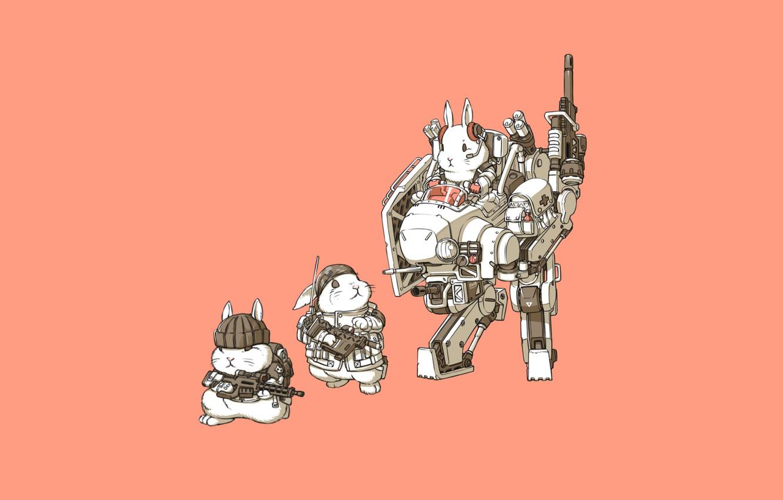 Photo wallpaper Art, Guns, Weapon, Minimalism, Characters, Bunny, Rabbits, Transport & Vehicles, Ren Wei Pan, Bunnys, Mechanical …