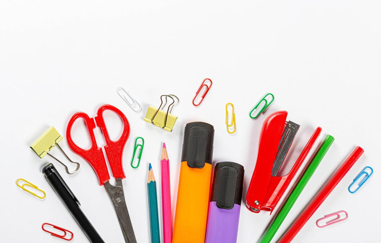 Photo wallpaper pencils, clip, stationery, stapler