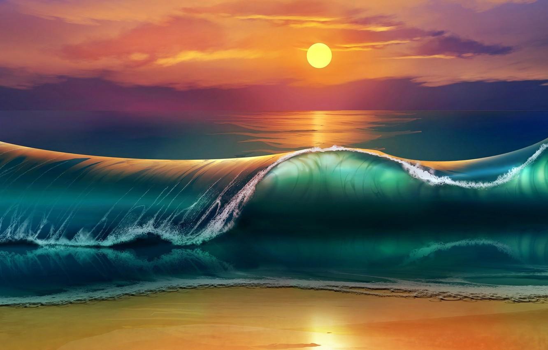 Photo wallpaper waves, beach, sky, sea, nature, Sun, sunset, art, clouds, digital art, artwork, painting art