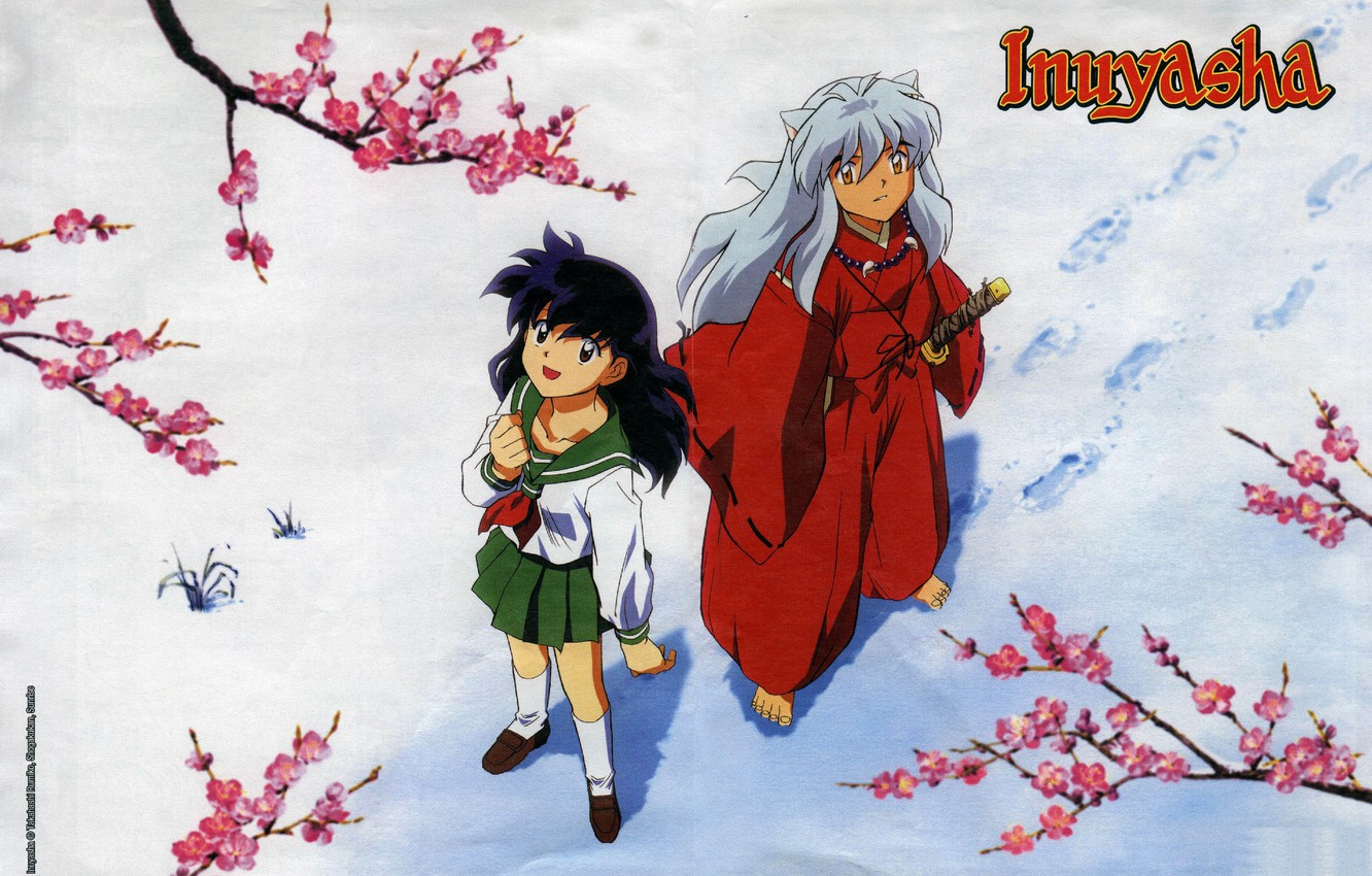 Photo wallpaper snow, branches, traces, schoolgirl, art, barefoot, looking up, sailor, red suit, Inuyasha, Inuyasha, Rumiko Takahata, ...