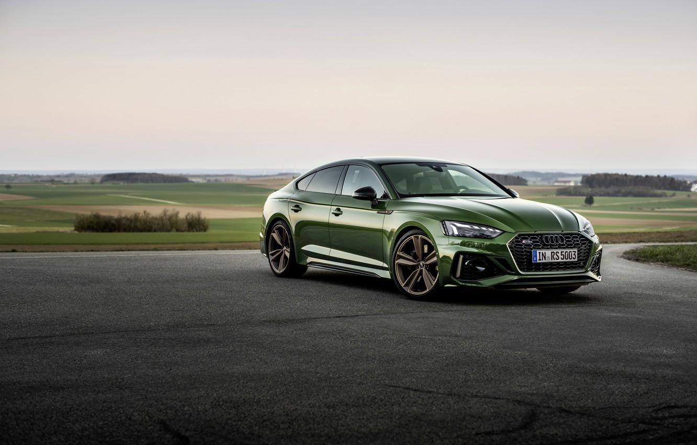 Photo wallpaper Audi, Parking, green, RS 5, 2020, Sportback, RS5 Sportback