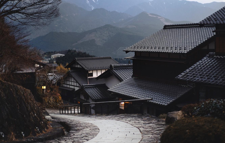 Photo wallpaper Tree, Mountain, Wallpaper, Japanese village