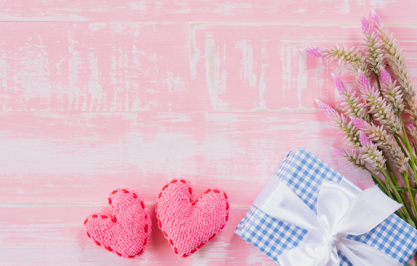 Photo wallpaper love, flowers, gift, heart, love, wood, pink, flowers, romantic, hearts, gift, valentine