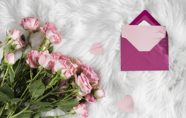 Photo wallpaper Love, roses, bouquet, fur, the envelope