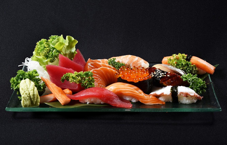 Photo wallpaper fish, caviar, sushi, shrimp, seafood