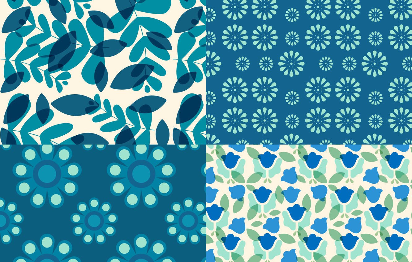 Photo wallpaper flowers, blue, pattern, texture, leaves, patterns, floral