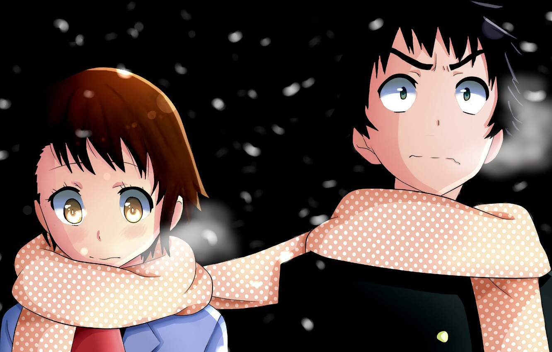 Photo wallpaper girl, night, romance, anime, scarf, art, guy, two, Nisekoi, Feigned love
