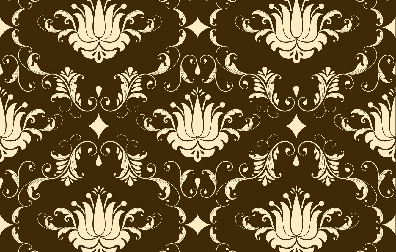 Photo wallpaper background, brown, ornament, style, vintage, beige, ornament, seamless, victorian