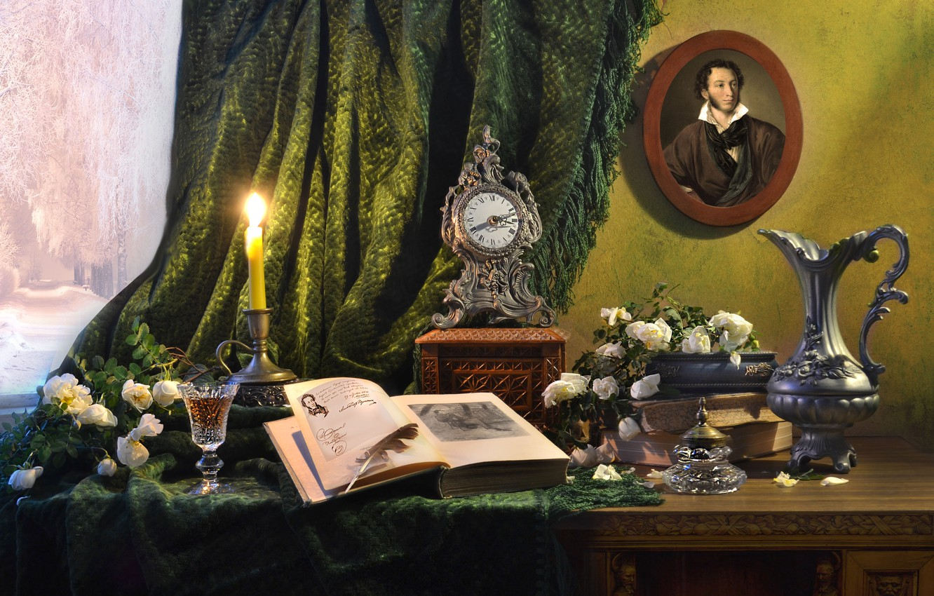 Photo wallpaper flowers, table, pen, glass, portrait, roses, candle, window, book, pitcher, curtain, Pushkin, Valentina Fencing