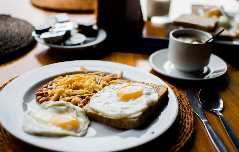 Photo wallpaper plate, bread, spoon, knife, scrambled eggs