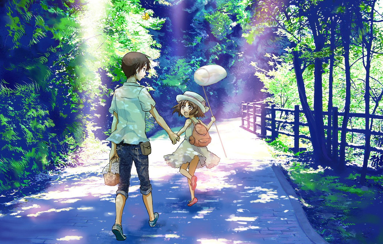 Photo wallpaper summer, joy, children, the fence, jeans, the net, hat, walk, backpack, vacation, sunlight, a stone …