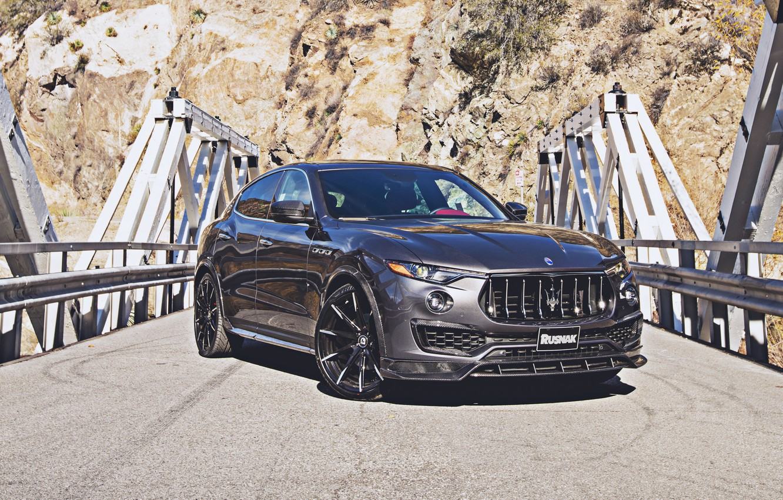 Photo wallpaper road, machine, mountains, tuning, Maserati, carbon, black, front, tuning, wheel, Maserati Levante, aggressive, black car, …