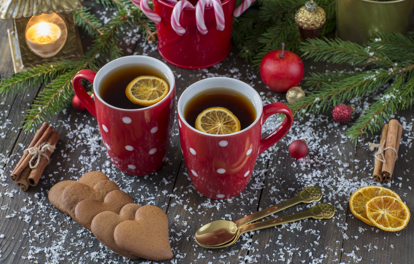 Photo wallpaper snow, decoration, New Year, Christmas, Christmas, snow, cup, New Year, tea, cookies, decoration, Merry, fir …