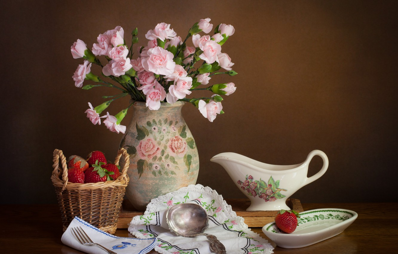 Photo wallpaper flowers, style, berries, background, strawberry, vase, still life, basket, swipe, clove