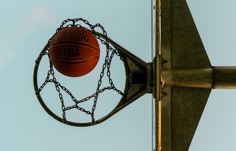 Photo wallpaper the ball, ring, basketball