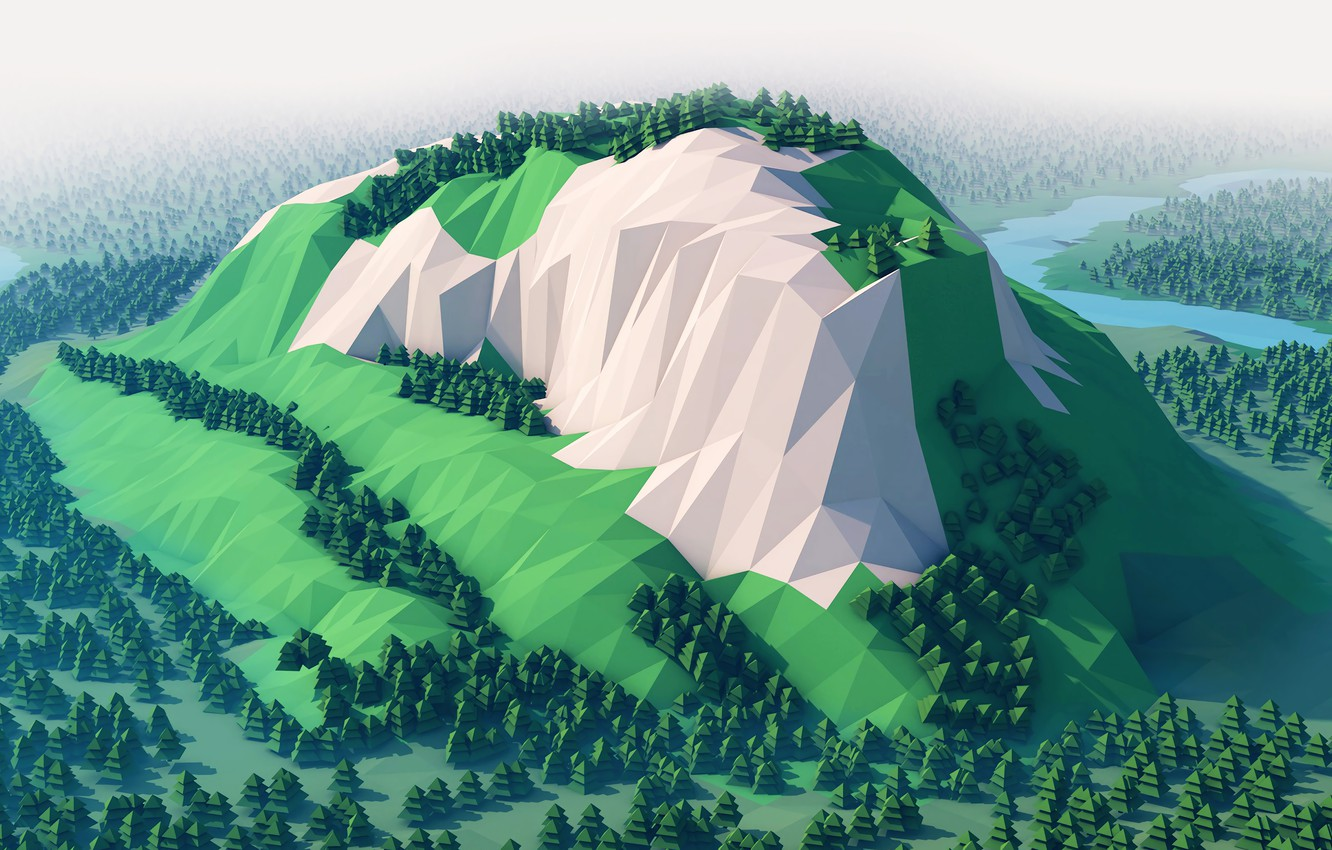 Wallpaper Mountain Forest Low Poly Images For Desktop