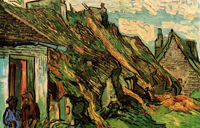 Photo wallpaper Vincent van Gogh, Cottages, in Chaponval, Thatched Sandstone
