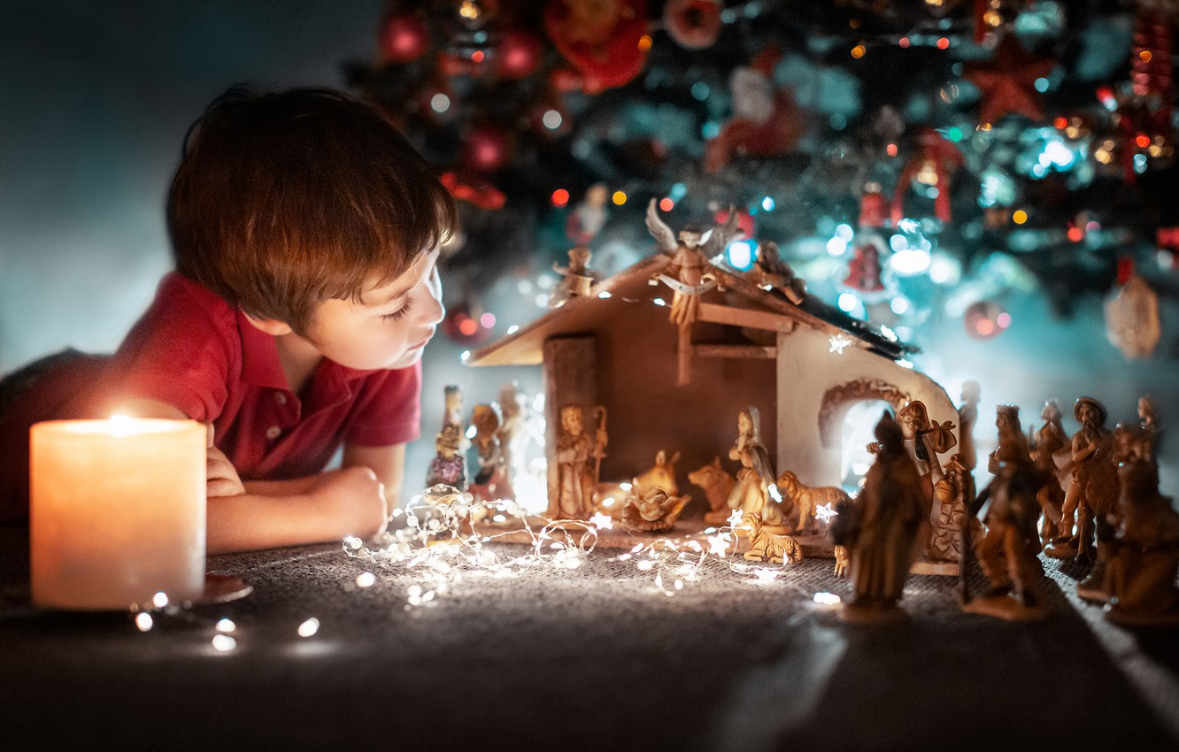 Photo wallpaper candle, boy, Christmas, tree, figures