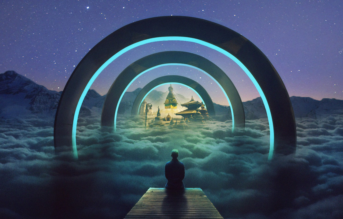 Photo wallpaper fantasy, fiction, graphics, people, the tunnel, painting