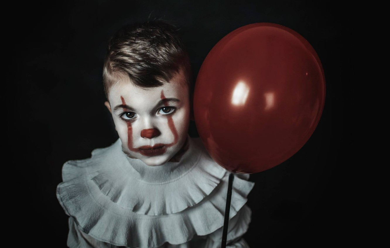 Photo wallpaper look, face, ball, boy, clown, black background, a balloon, Pennywise, Pennywise
