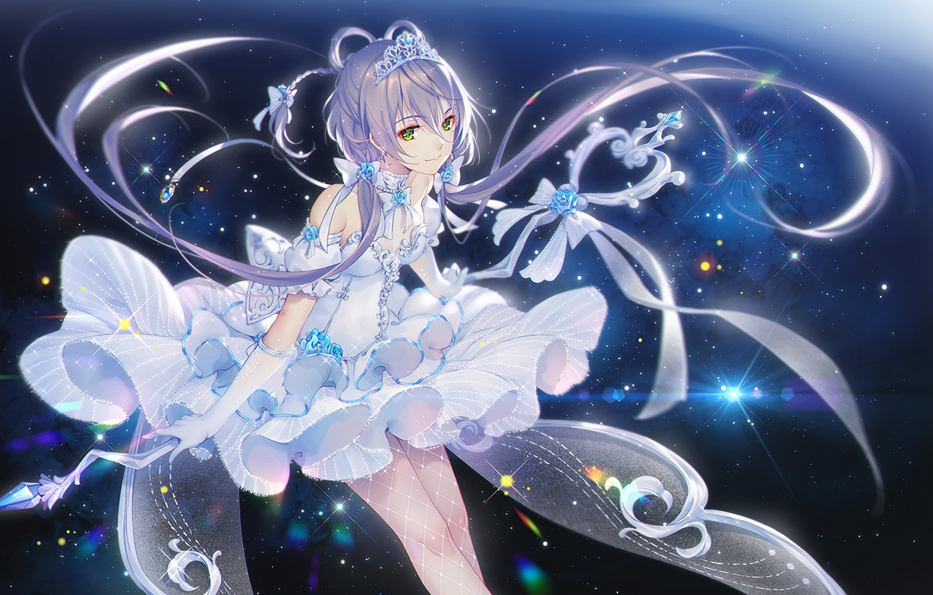 Photo wallpaper girl, magic, crown, white dress, Vocaloid, stars, Luo Tianyi, TID
