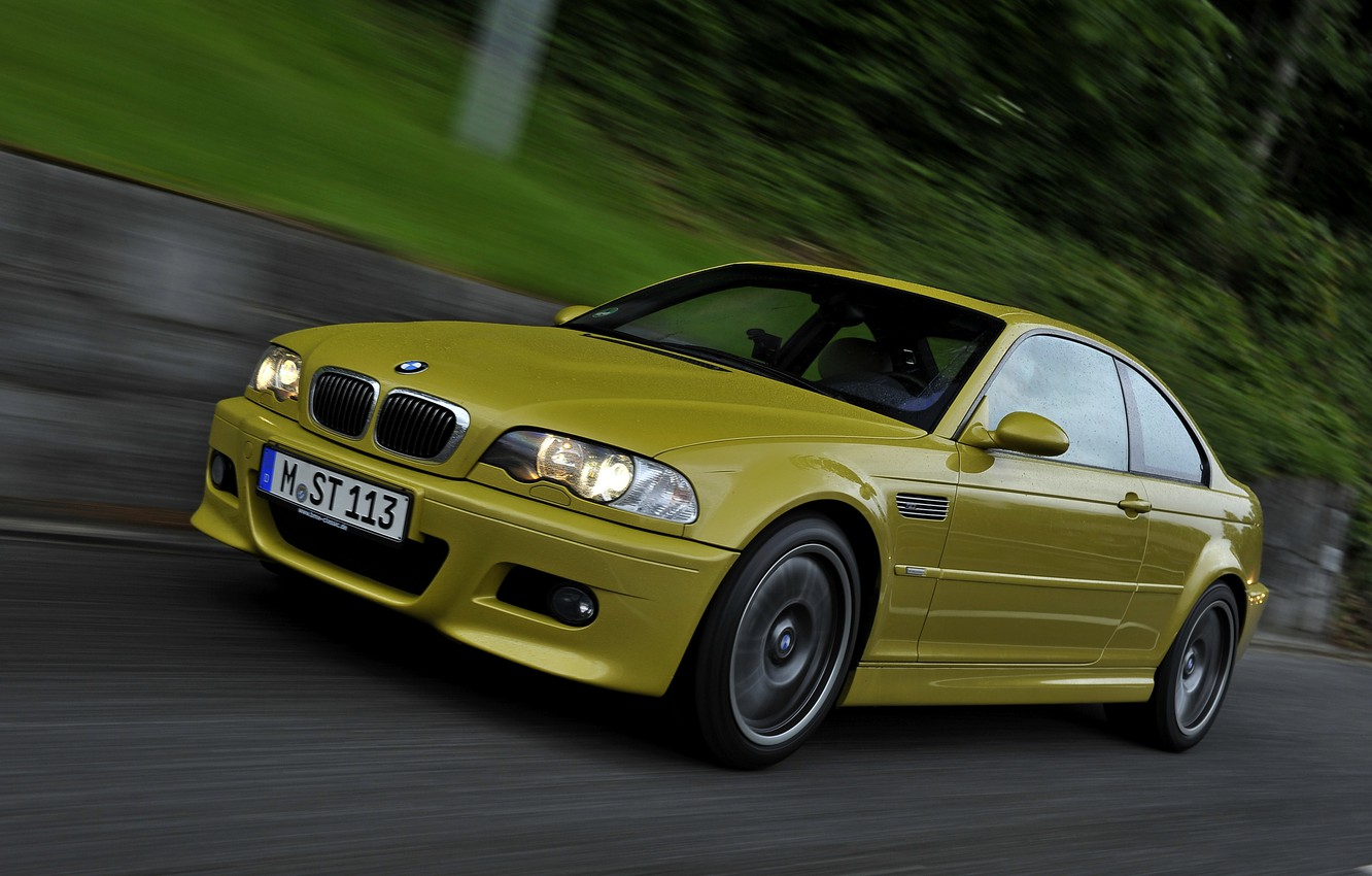 Photo wallpaper yellow, coupe, BMW, E46, BMW M3, M3, two-door, M3 Coupe
