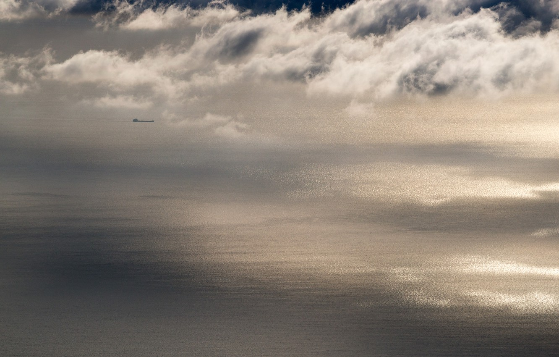 Photo wallpaper sea, clouds, ship, sea, clouds, ship, Alexey Kharitonov